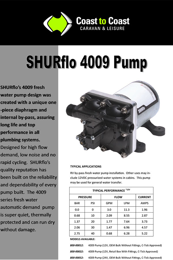 Shurflo Water Pump >> Shurflo 12V 4009 Water Pump With Fittings (C-Tick Approved ...