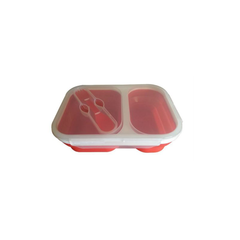 Collapsible Silicone 2 Compartment Lunchbox