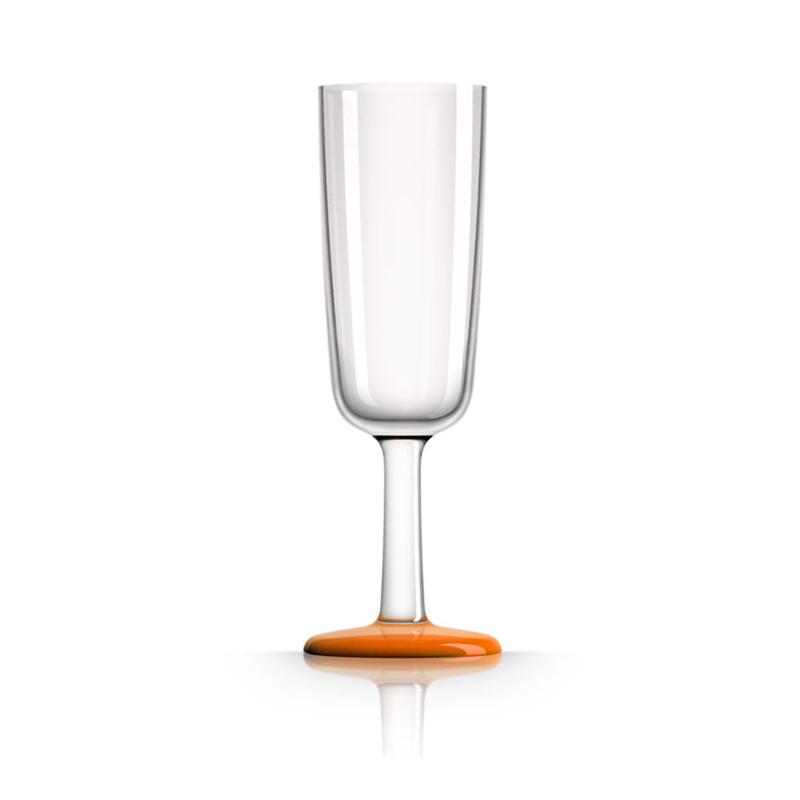 Palm Marc Newson Tritan Flute Glass w/ Cadmium Orange Base 190ml