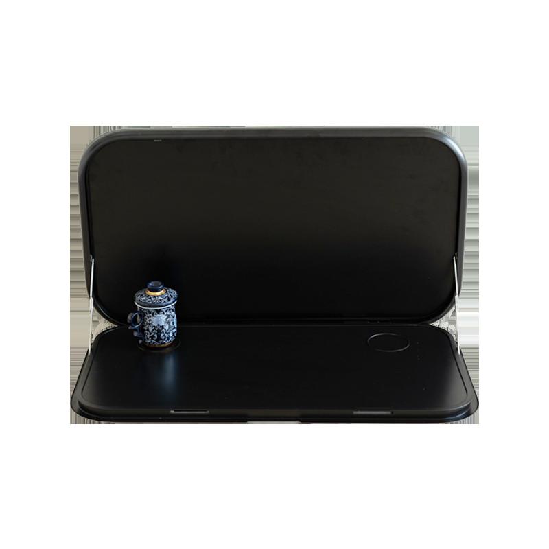 Caravan Picnic Table Black with LED Lighting & Backing Plate - 800 x 445mm