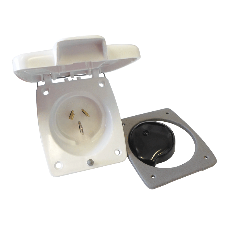 Clipsal White External 15AMP Power Inlet (3 PIN)
