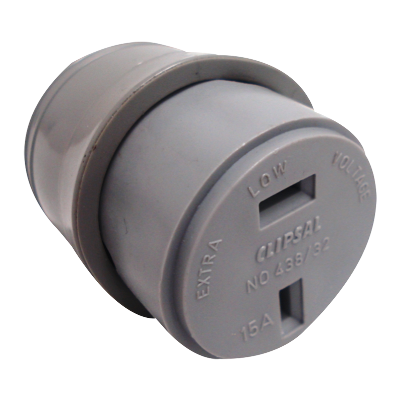 Clipsal 438/32 Fixed Polarity Cord Socket Grey