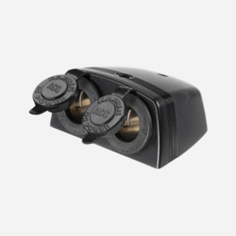ACCESSORY SOCKET SURFACE BLACK MOUNT TWIN SOCKETS