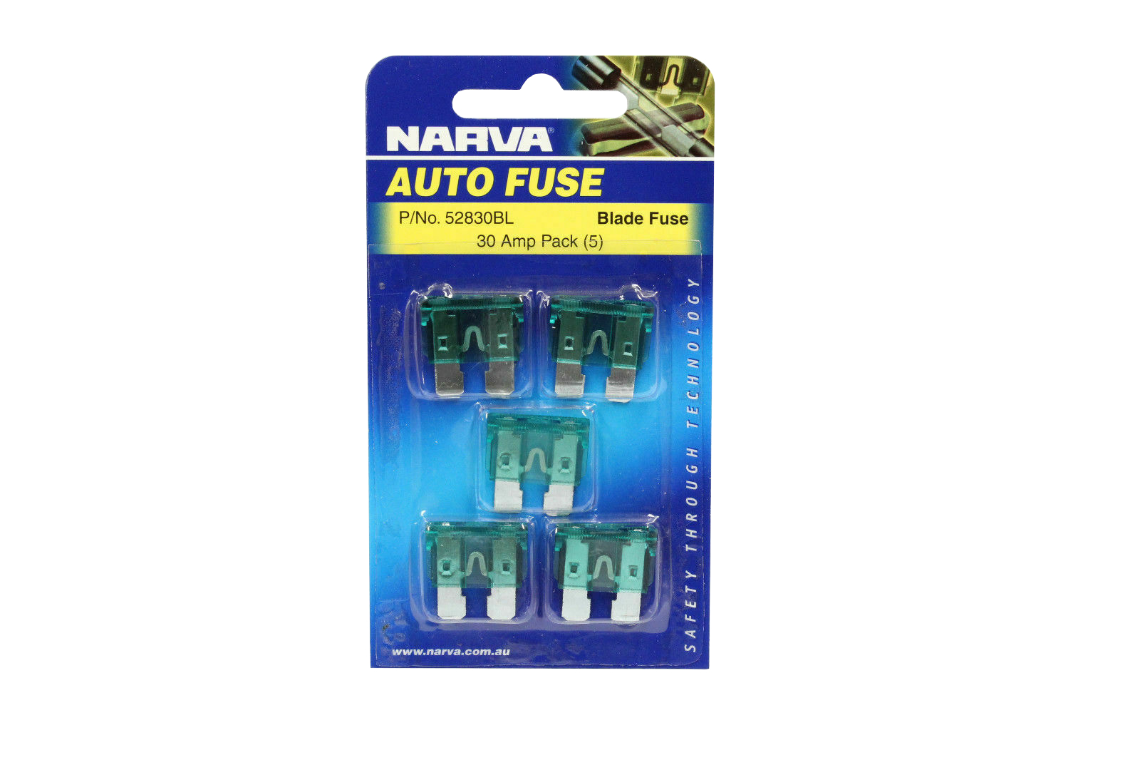 NARVA 30 Amp GREEN ATS Blade Fuse - 5 Per Pack. 52830BL