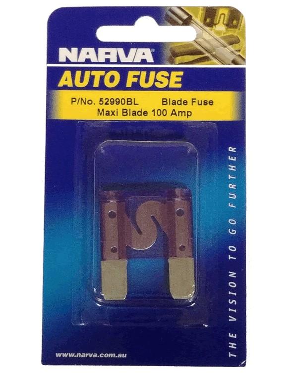 NARVA 100 Amp PURPLE MAXI-Blade Fuse - 1 Per Pack. 52990BL