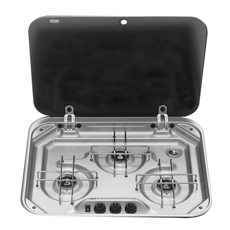 Smev 3 Burner Stainless Steel Drop In Cook Top With Glass Lid