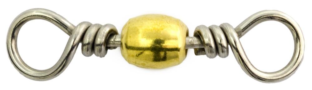 Mustad 55kg Brass Barrel Swivel (6 per Pack) - Size 1