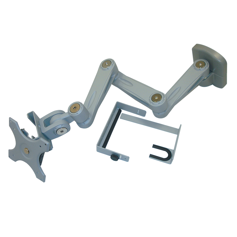 Sphere Triple Arm Wall Mount Monitor Bracket With Lock (Silver)