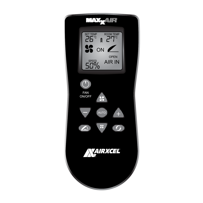 MaxxFan Plus with Thermostat, Power Lift, Rain Sensor and Remote