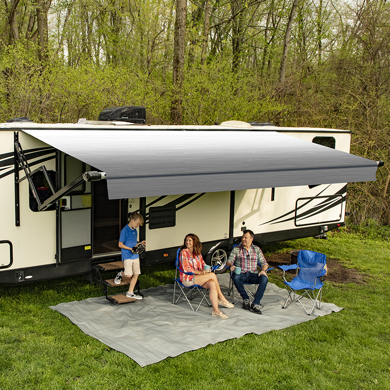 Carefree Silver Shale Fade Altitude Awnings with LED Bar