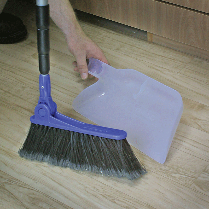 Adjustable Broom With Clip On Dust Pan