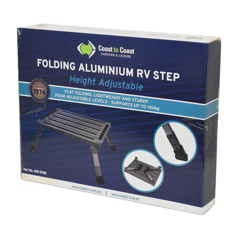 COAST Height Adjustable - Folding ALUMINUM RV Step (150KG Capacity)
