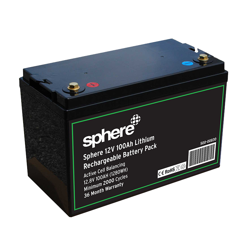 Sphere 12V 100AH Lithium Rechargeable Battery.