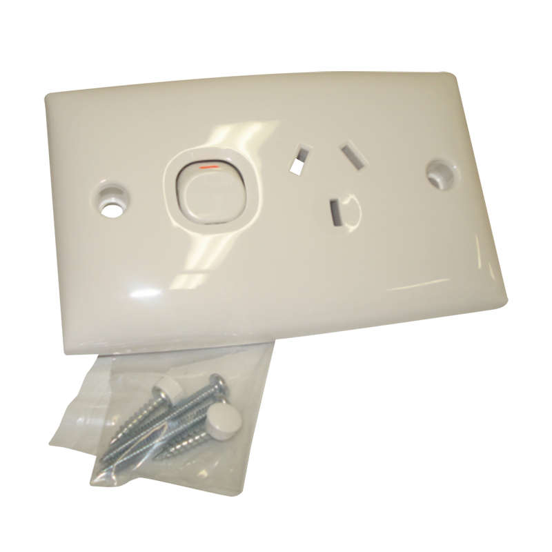 Single Power Point Double Pole 15D White