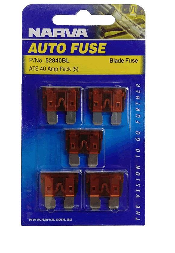 NARVA 40 Amp Light BROWN ATS Blade Fuse - 5 Per Pack. 52840BL