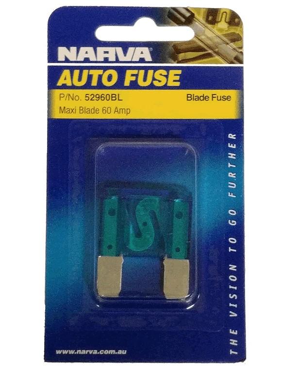 NARVA 60 Amp BLUE MAXI-Blade Fuse - 1 Per Pack. 52960BL