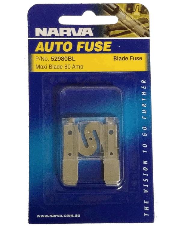 NARVA 80 Amp CLEAR MAXI-Blade Fuse - 1 Per Pack. 52980BL