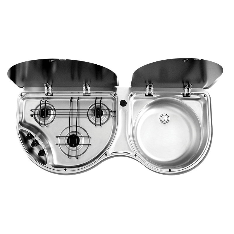 Smev 3 Burner Stove & Sink Combo Stainless Steel (No Mixer)