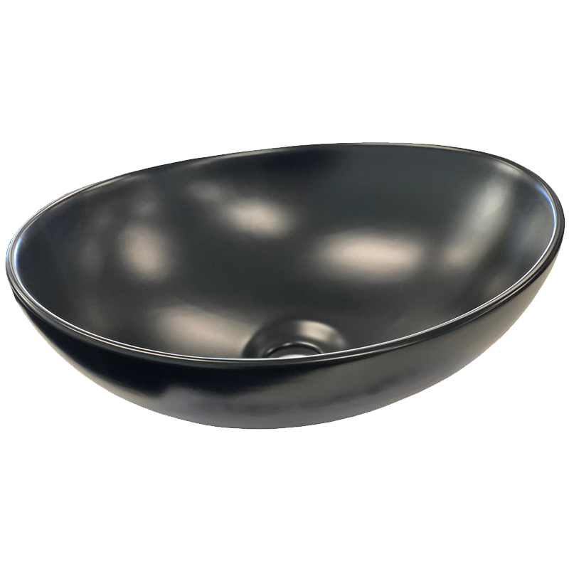 Matt Black Oval Ceramic Bathroom Basin