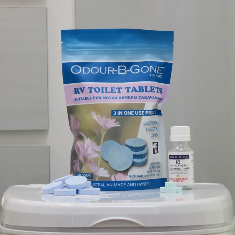 ODOUR B GONE PLUS - RV Toilet Tablets. Blue 8g - 25 Pack (Plus 10x2g MINI Oxygen Tabs)