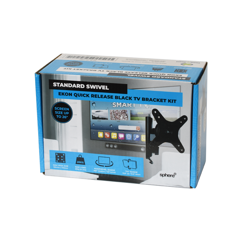 SPHERE Ekon Quick Release Black TV Bracket Kit - Standard Swivel