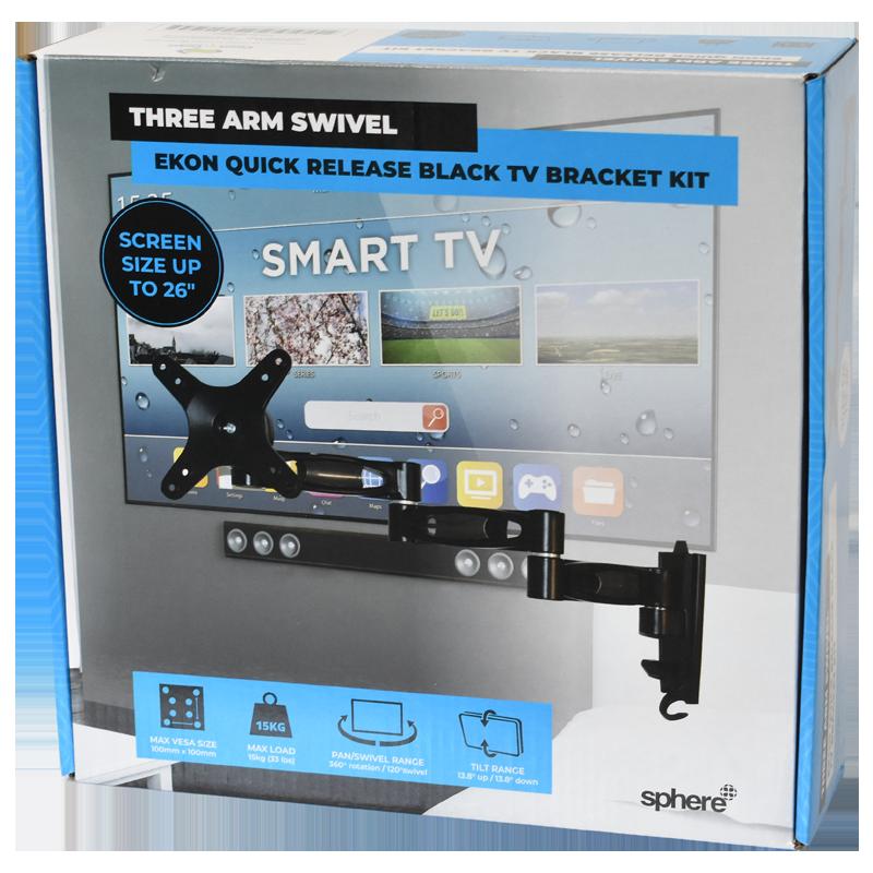 SPHERE Ekon Quick Release Black TV Bracket Kit - Three Arm Swivel